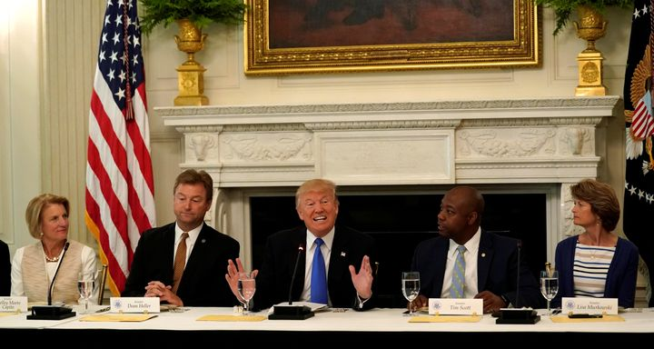 U.S. President Donald Trump speaks during a lunch meeting with Senate Republicans at the White House in Washington, U.S., Jul