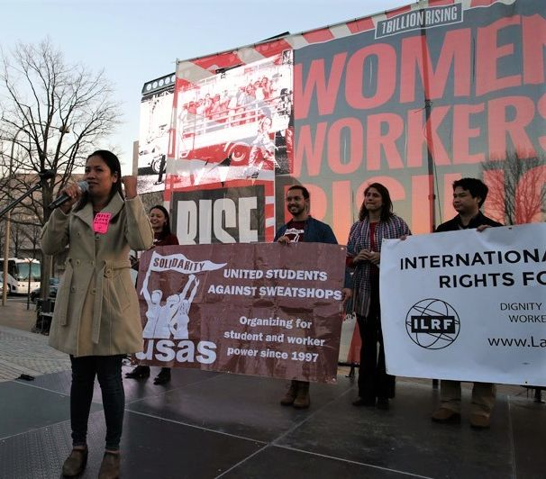 Sophorn Yang, president of the Cambodian Alliance of trade Unions, speaks at a Washington, D.C rally for International Women'