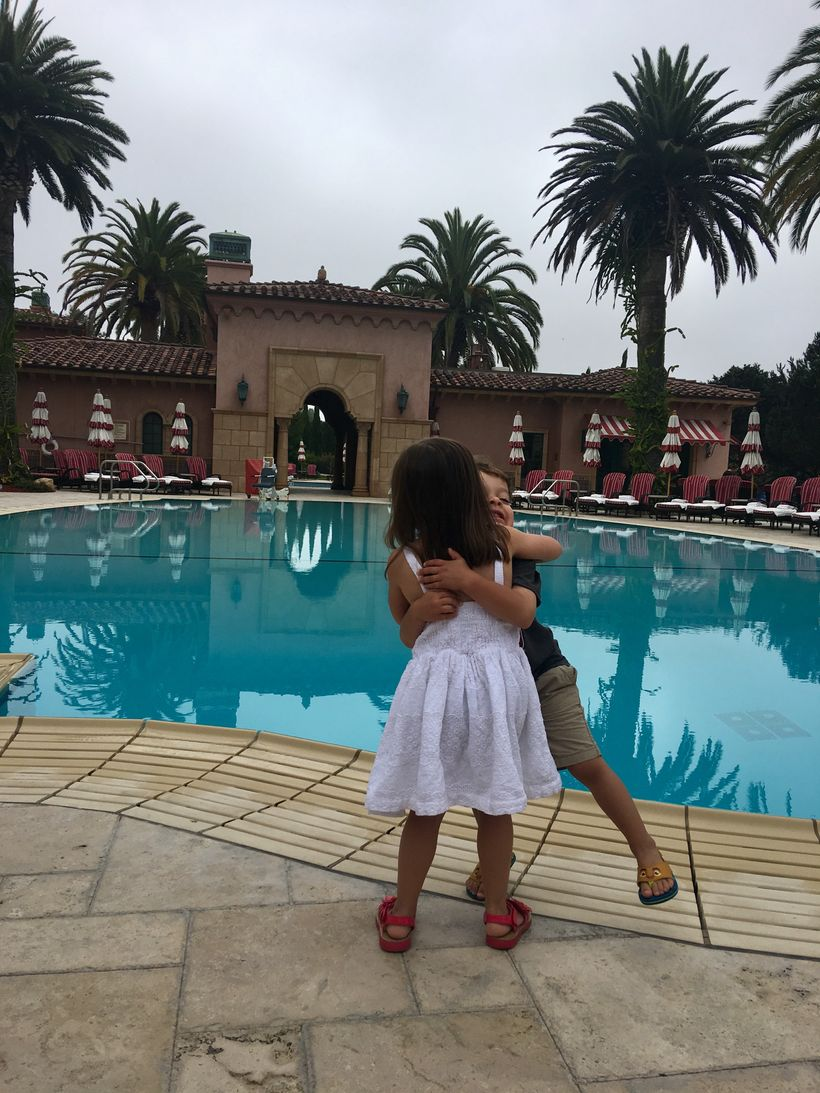 Hugs by the pool at the Fairmont Grand Del Mar.
