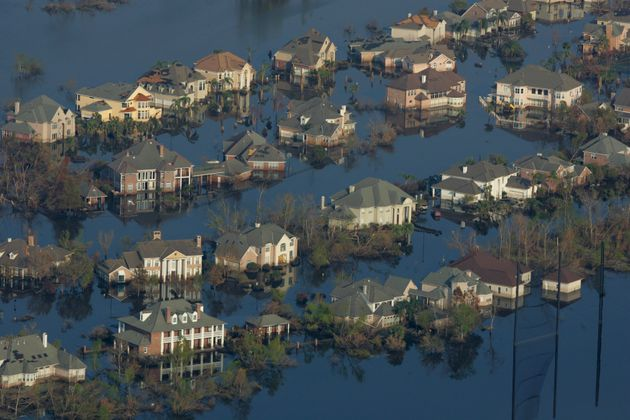 Two weeks after Hurricane Katrina hit New Orleans, neighborhoods were still flooded with oil and water.People...