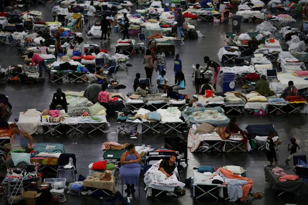 After Hurricane Harvey struck the Houston area, evacuees find shelter at the George R. Brown Convention...