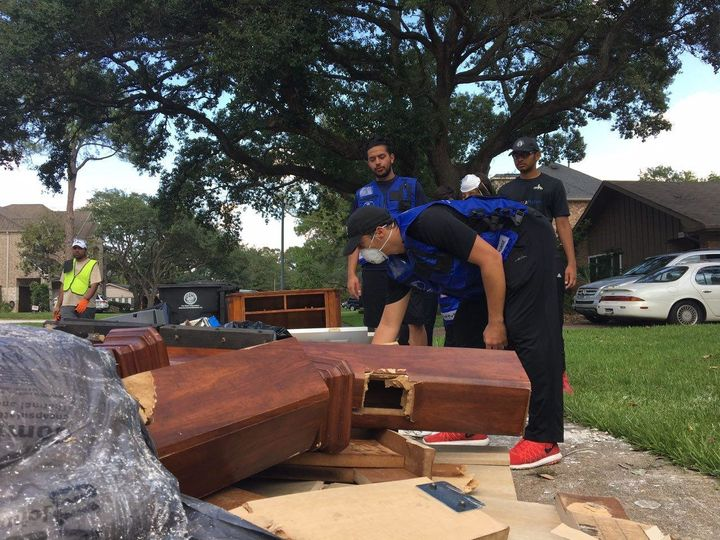 AMYA crews began helping families throughout the city with cleanup as the water began to recede in Houston.