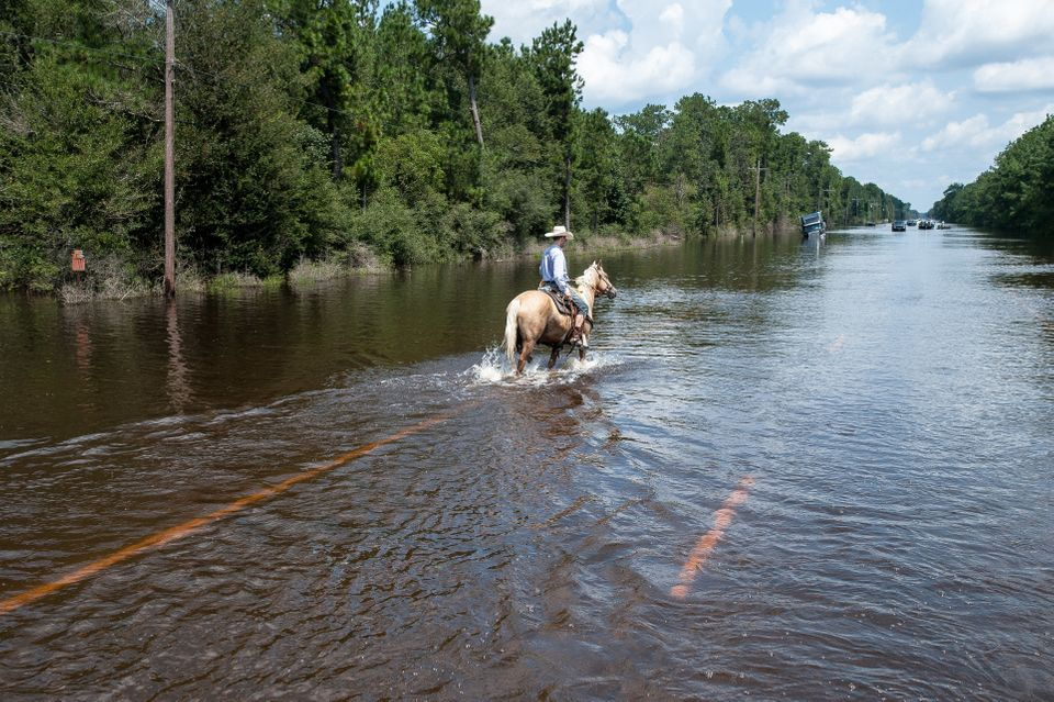 A man rides a horse through flooded streets.
