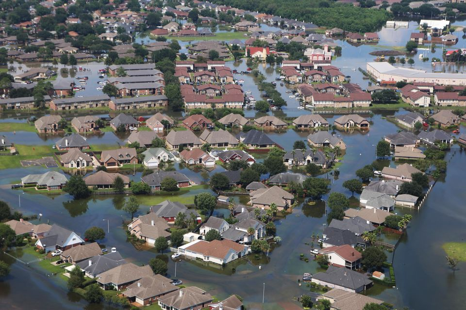 Flying over Port Arthur and Beaumont revealed widespread flooding and devastation from Hurricane