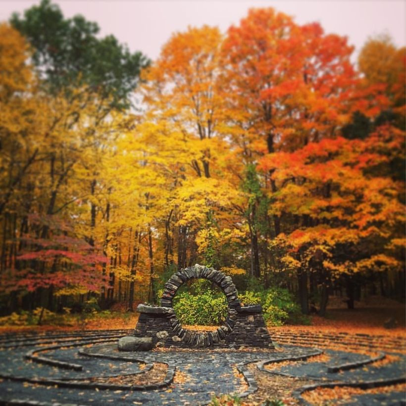 The labyrinth on the campus of Holy Family Passionist Retreat Center and Copper Beech Institute.
