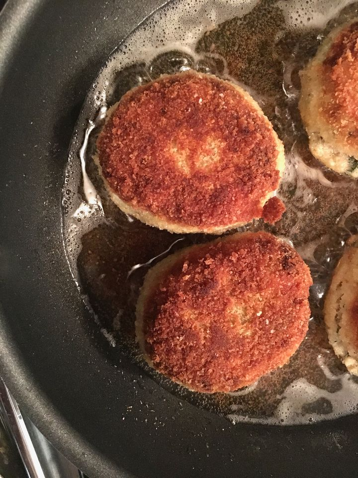 The leftovers? Chicken patties or rissoles or kotlety or croquettes, served with a dill sauce made from the original sauce pl