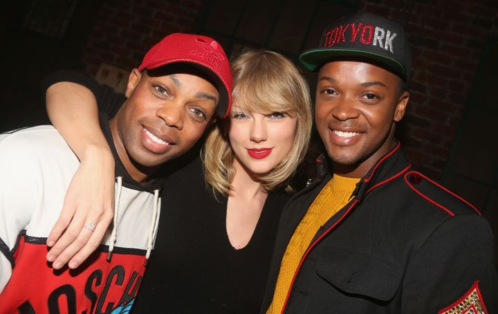 "Taylor Swift visits Todrick Hall, left, and Harrison Ghee, right, backstage at the musical ""Kinky Boots."""