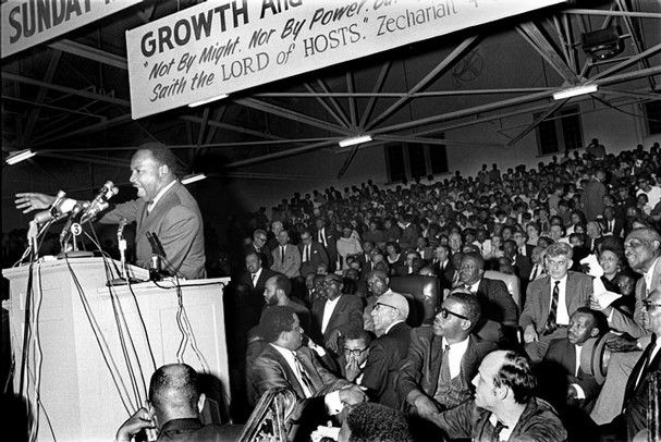 Rev. Martin Luther King delivers his last speech at a union rally in Memphis in April 1968