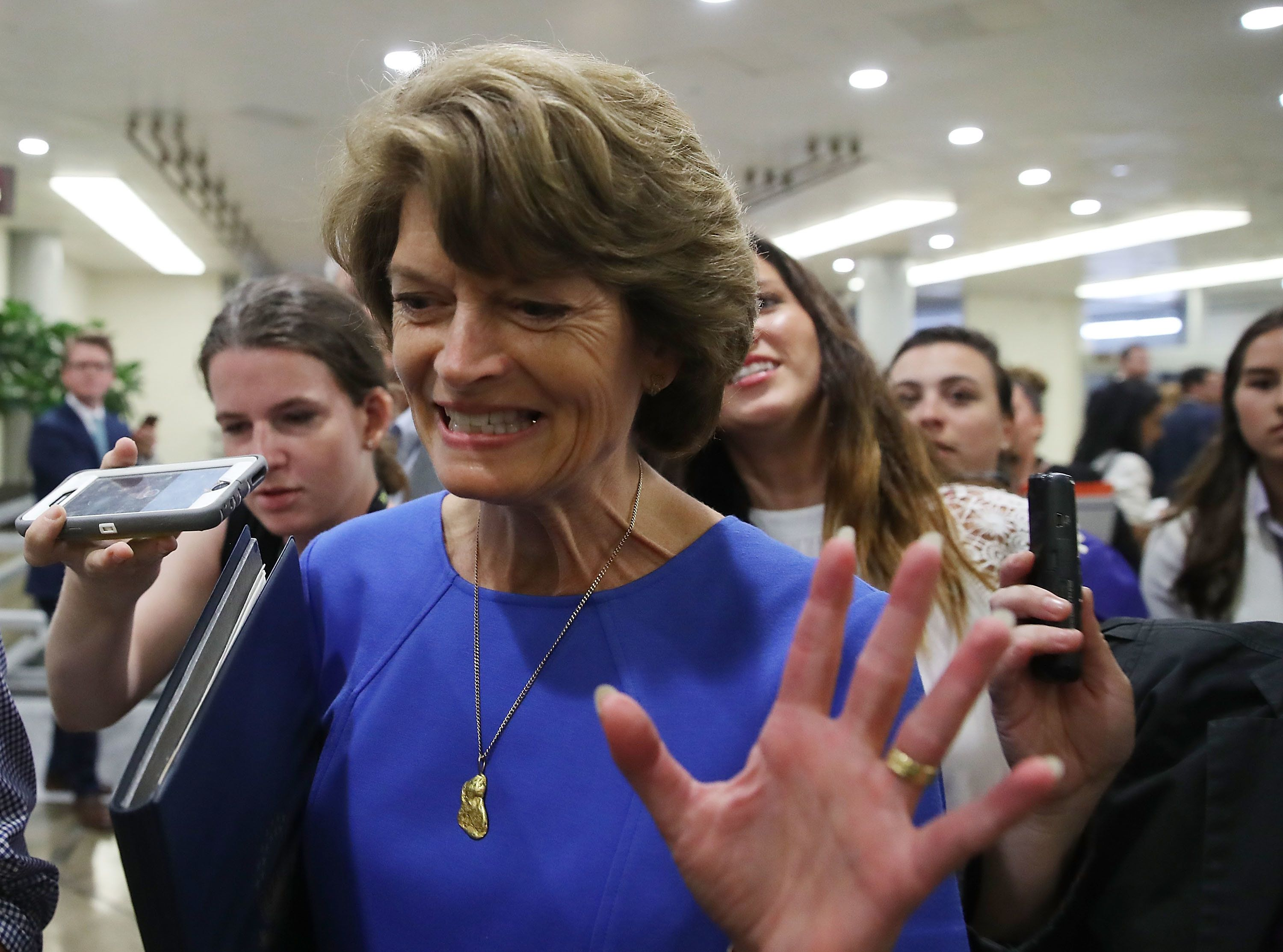 WASHINGTON, DC - JULY 18:  Sen. Lisa Murkowski (R-AK) is followed by reporters as she walks through the Senate Subway inside of the US Capitol on July 18, 2017 in Washington, DC. Sen. Murkowski said she would vote no Senate Majority Leader Mitch McConnell's bid to overhaul the Affordable Care Act.  (Photo by Mark Wilson/Getty Images)