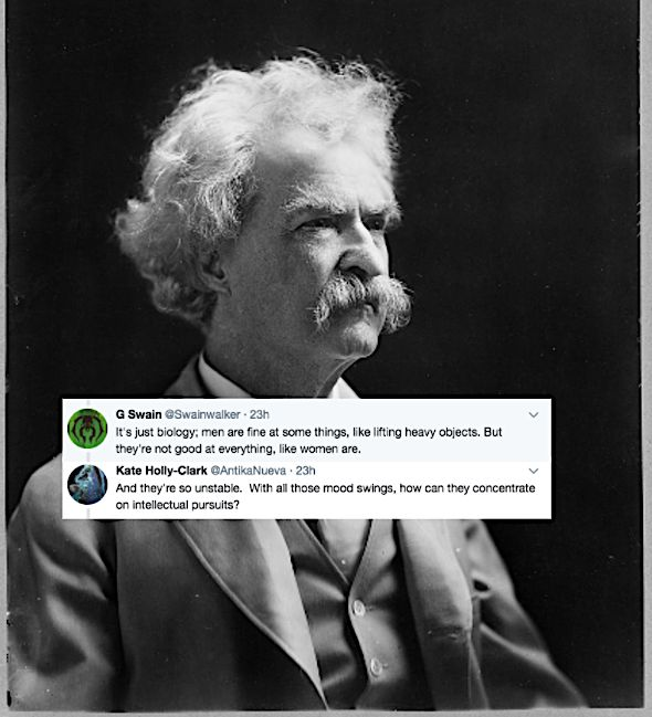 Photo of Mark Twain with tweets from a satirical Twitter thread launched by