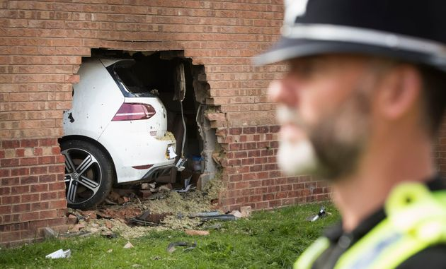 The car rammed into a wall of the property in