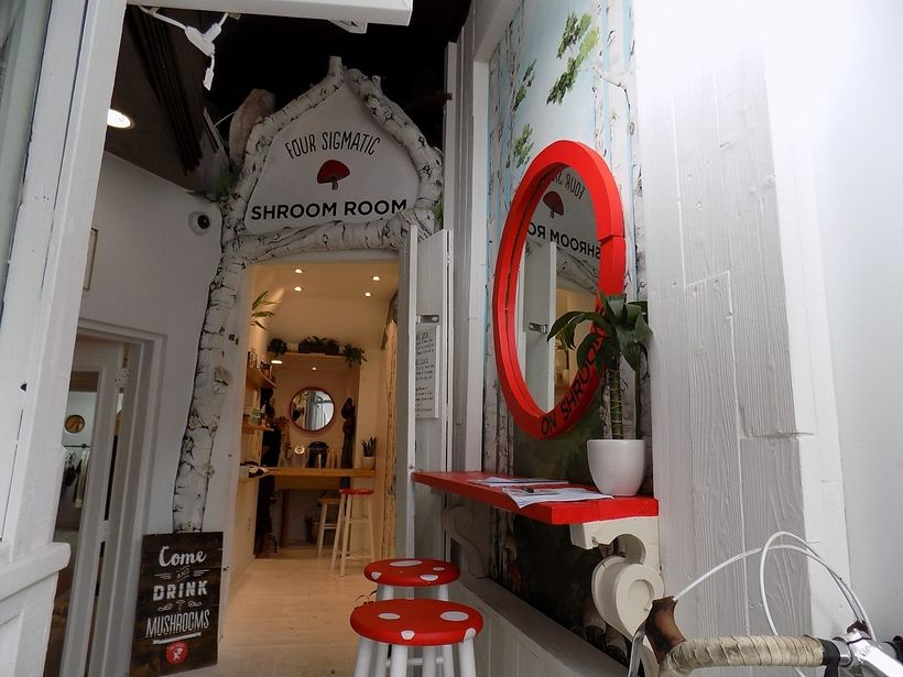 Narrow entry to Venice's Shroom room, where one can sample and learn about the healing powers of superfood mushrooms.