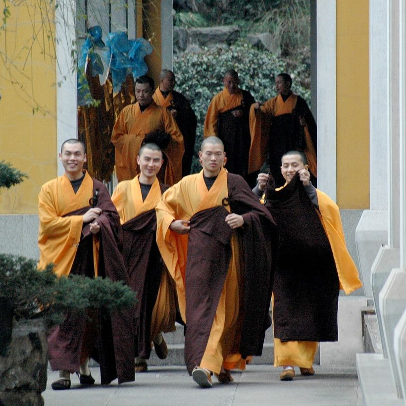 <em>Monks at Lingyin Temple</em>