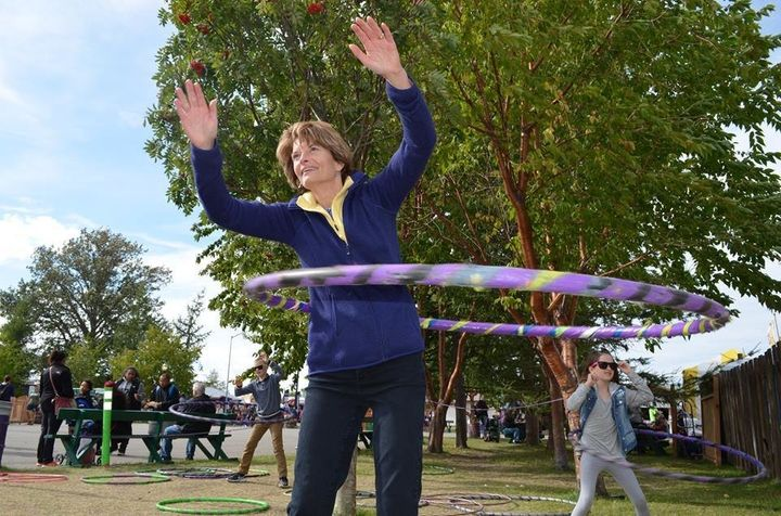 Murkowski, living her best life, hula hooping with constituents at the Alaska State Fair in August.