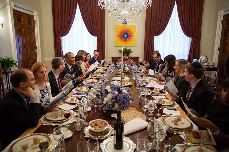 Passover seder in redecorated Family Dining Room, White House, April 2015, President Barack Obama and First Lady Michelle Oba