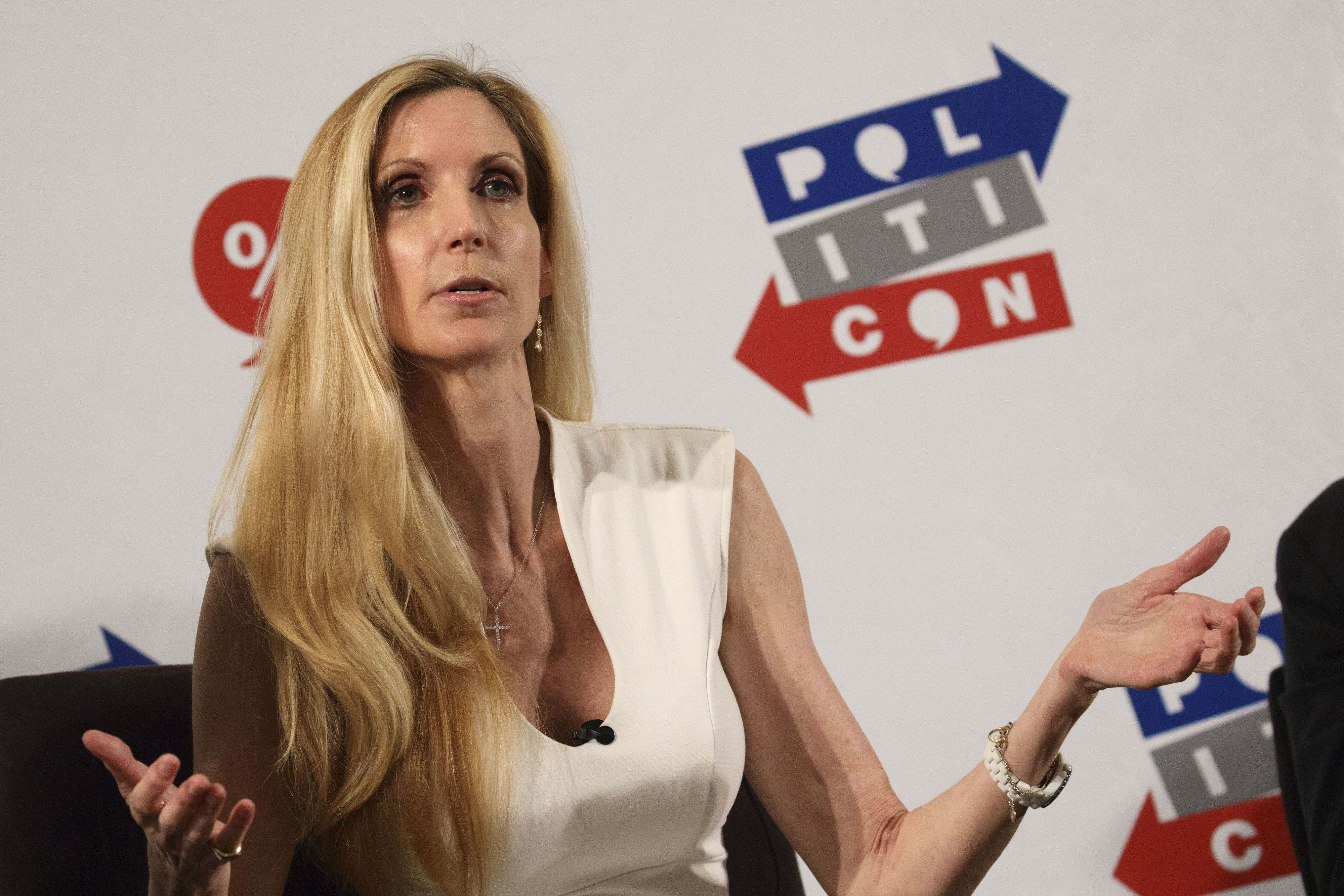 Author Ann Coulter speaks during a panel discussion at the Politicon convention inside the Pasadena Convention Center in Pasadena, California, U.S., on Saturday, July 29, 2017. During the third annual Politicon pundits, politicians, comedians and entertainers gather to discuss issues that touch all sides of the political spectrum. Photographer: Patrick T. Fallon/Bloomberg via Getty Images