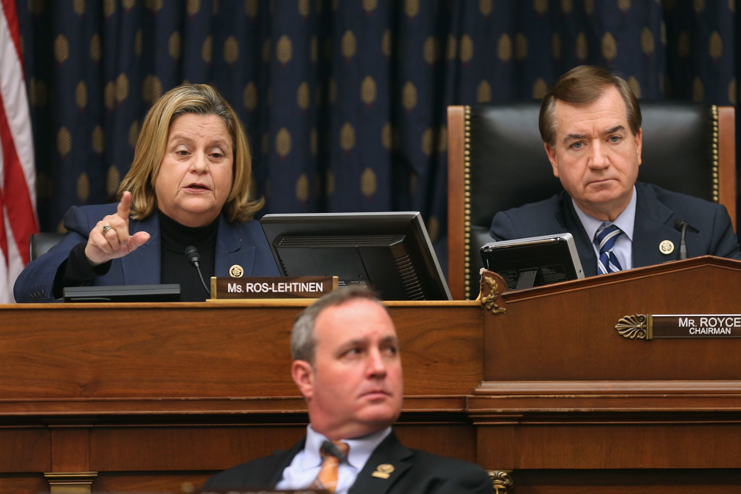WASHINGTON, DC - FEBRUARY 04:  House Foreign Affairs Committee member Rep. Ileana Ros-Lehtinen (L) uses her alloted five minutes to question witnesses without leaving time for answers during a hearing about Cuba policy with committee Chairman Ed Royce (R-CA) (R) and Rep. Jeff Duncan (D-SC) in the Rayburn House Office Building on Capitol Hill February 4, 2015 in Washington, DC. The committee heard testimony on the impact of U.S. policy changes toward Cuba and Assistant Secretary of State For Western Hemisphere Affairs Roberta Jacobson's recent trip to Havana to begin the reestablishment of diplomatic ties between the former Cold War enemies.  (Photo by Chip Somodevilla/Getty Images)