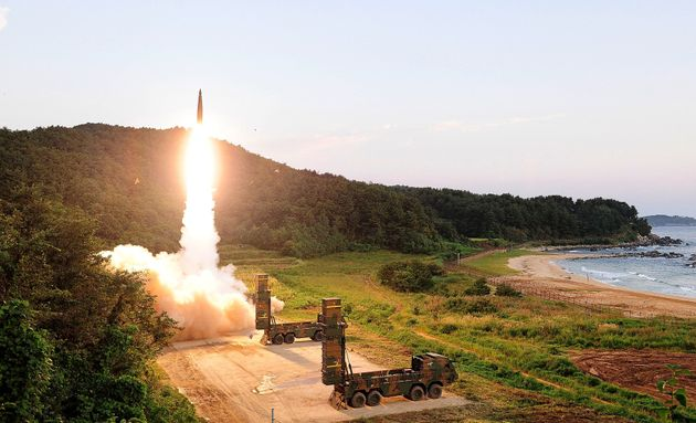 <strong>South Korea's Hyunmu-2 ballistic missile is fired during an exercise aimed to counter North...