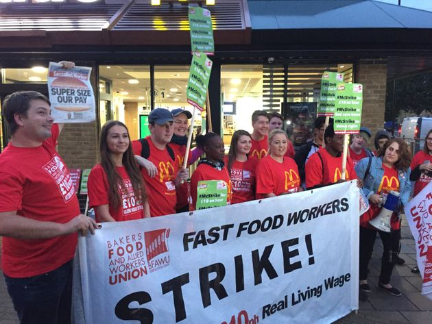 Workers out on strike at a McDonald's in Crayford, south west London, in