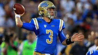 PASADENA, CA - SEPTEMBER 03:  Josh Rosen #3 of the UCLA Bruins passes the ball during the second half of a game against the Texas A&M Aggies at the Rose Bowl on September 3, 2017 in Pasadena, California.  (Photo by Sean M. Haffey/Getty Images)