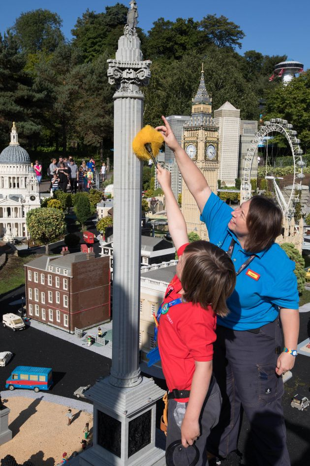 Stanley is pictured here with Paula Laughton, aModels & Theming Coordinator at Legoland