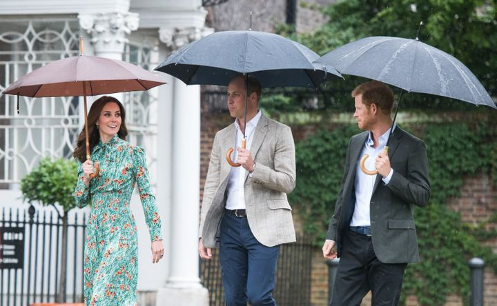 Prince William, Duke of Cambridge, Catherine, Duchess of Cambridge and Prince Harry visit The Sunken Garden at Kensington Palace on August 30, 2017 in London, England. The garden has been transformed into a White Garden dedicated in the memory of Princess Diana, mother of The Duke of Cambridge and Prince Harry.