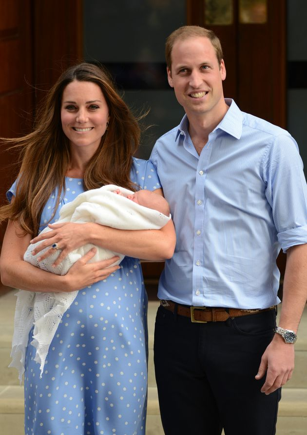 The couple at the Lindo Wing of St Mary's Hospital in 2013 with their newborn son