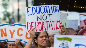 MANHATTAN, NEW YORK, NY, UNITED STATES - 2017/08/30: Activists rallied in Columbus Circle and marched from there to Trump Tower in protest of President Donald Trump's possible elimination of the Obama-era 'Deferred Action for Childhood Arrivals' (DACA) which curtails deportation of an estimated 800,000 undocumented immigrants. (Photo by Albin Lohr-Jones/Pacific Press/LightRocket via Getty Images)