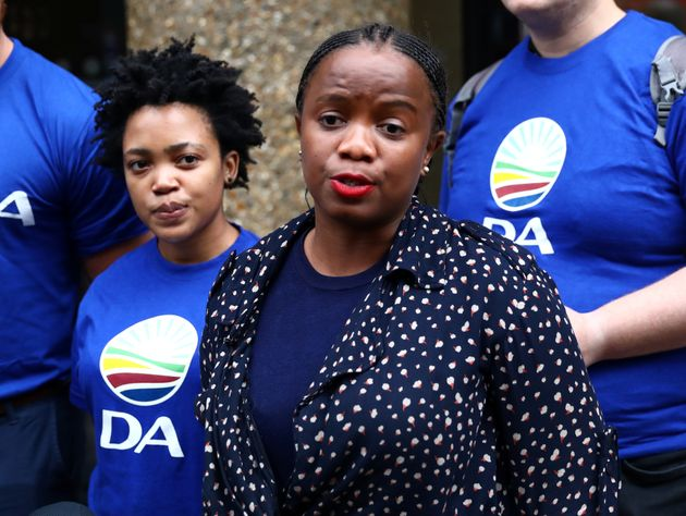Phumzile Van Damme of the Democratic Alliance National speaks outside the Bell Pottinger offices in Londonin