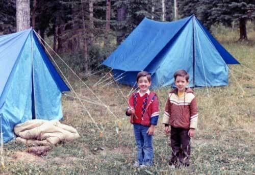 Drew and Jonathan roughing it as kids.