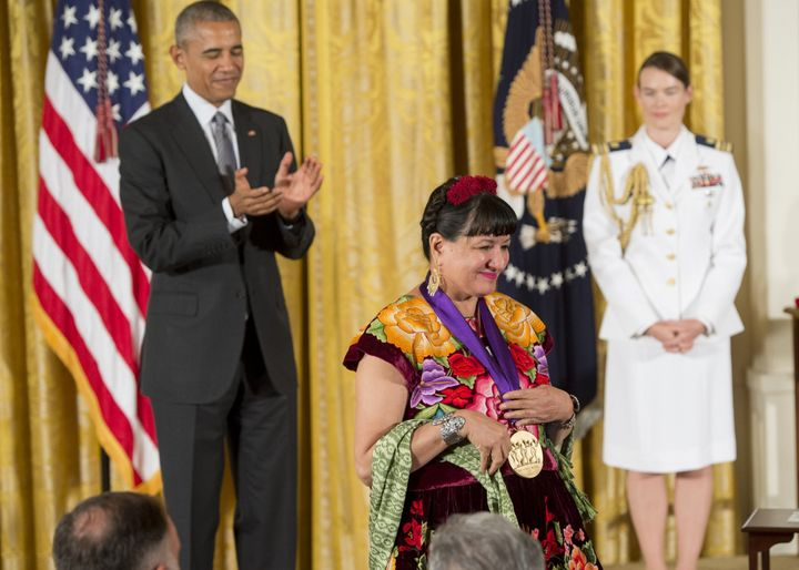 Sandra Cisneros is presented with the2015 National Medal of Arts.