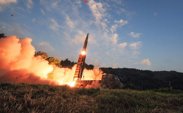 South Korea's Hyunmu-2 ballistic missile is fired during an exercise aimed to counter North Korea's nuclear...