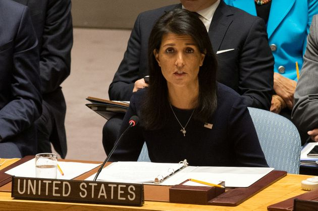 US Ambassador to the United Nations Nikki Haley delivers remarks during a meeting by the UUN Security...