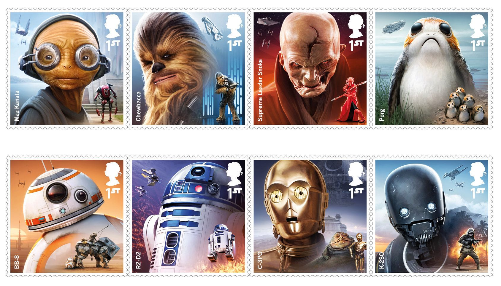 "Royal Mail has released a new set of stamps in anticipation of the release of the new ""Star Wars"" movie in December."