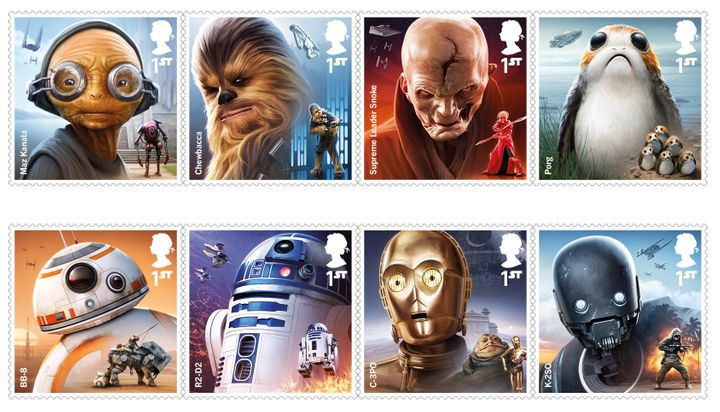 """Royal Mail has released a new set of stamps in anticipation of the release of the new """"Star Wars"""" movie in December."""