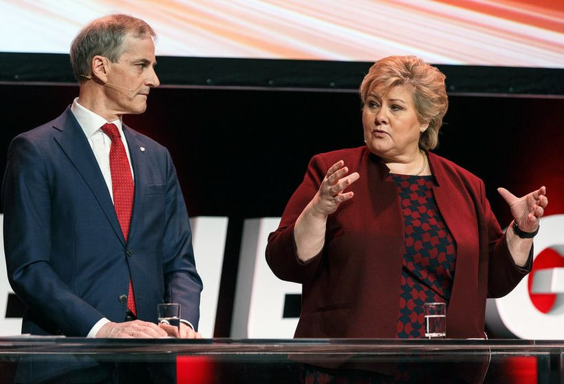 The leader of the Labor Party and PM-candidate Jonas Gahr Støre (left) hopes to replace Conservative PM Erna Solberg in next