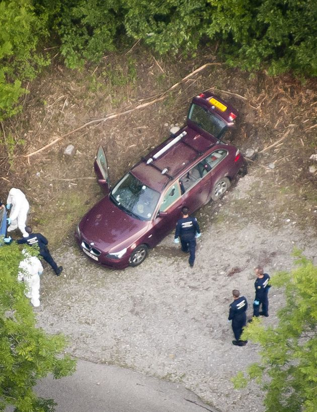 An aerial view of the family car after the murders in September