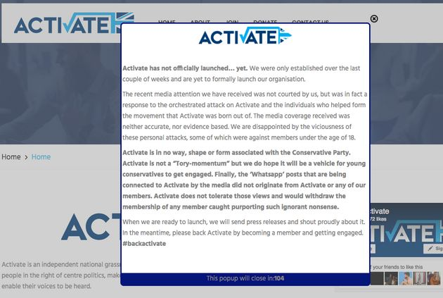 The pop-up currently appearing on the Activate