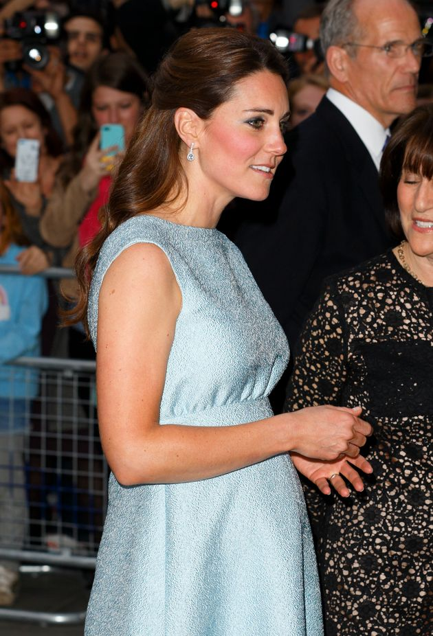 The Duchess of Cambridge, pregnant with Prince George, attends an evening reception celebrating The Art...