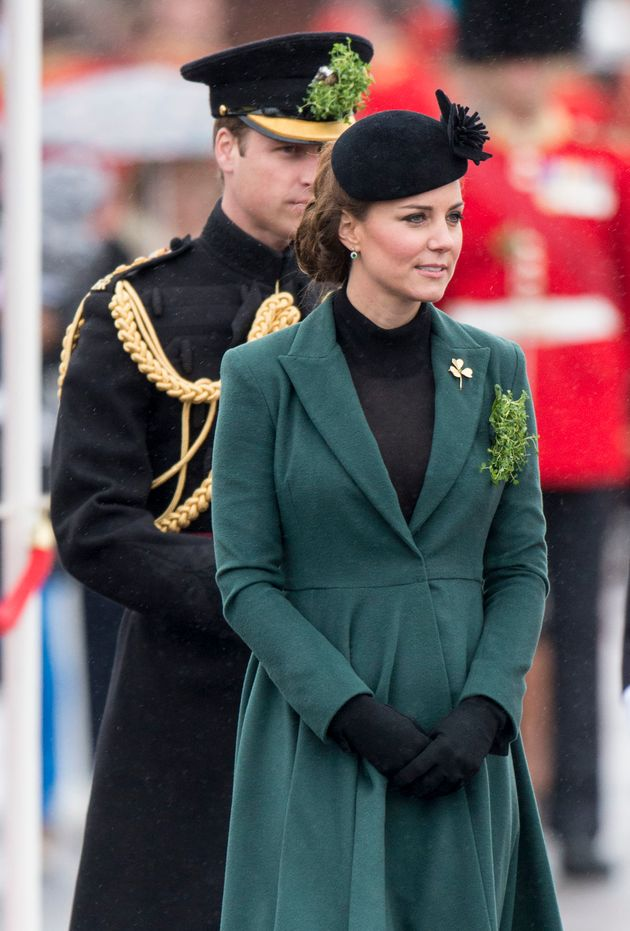 Five months pregnant with Prince George, the Duchess attends the St Patrick's Day Parade, March