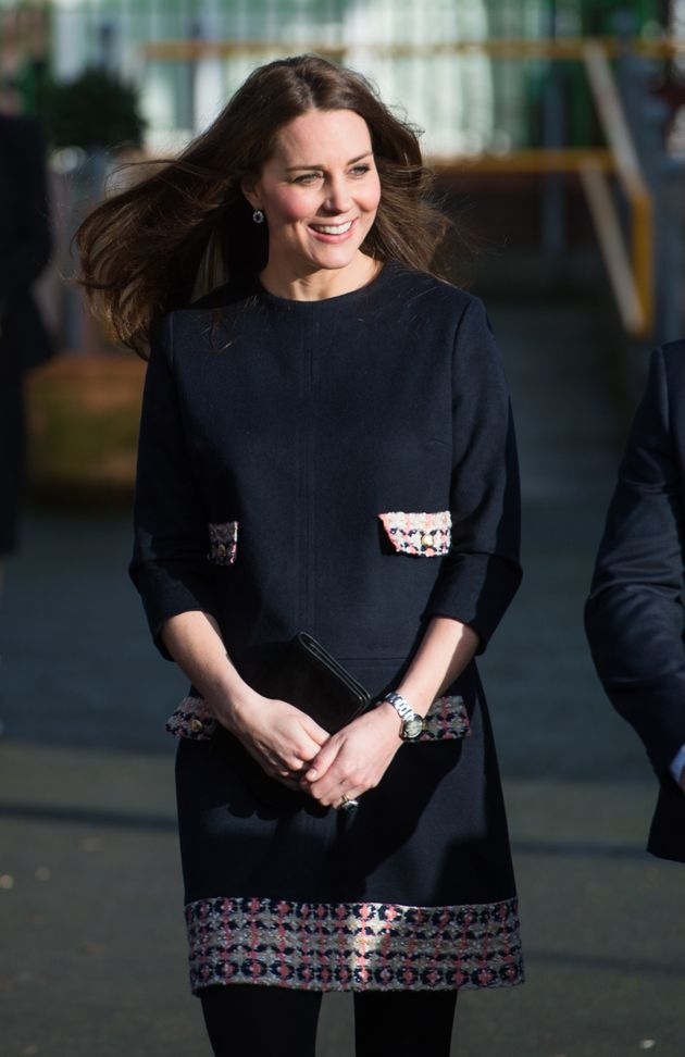 Pregnant with Princess Charlotte, the Duchess visits Barlby Primary School. January