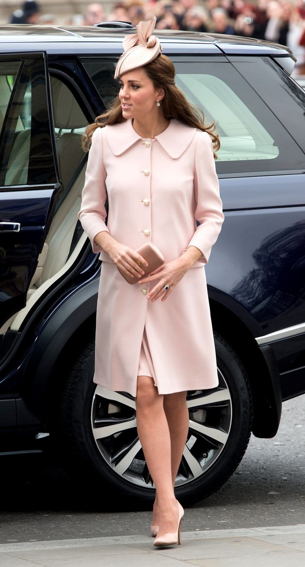 The Duchess attends the Observance for Commonwealth Day Service at Westminster Abbey London, while pregnant...