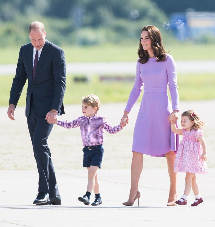 Prince William, Prince George, Princess Charlotte and Catherine, Duchess of Cambridge at the Hamburg airport on July 21.