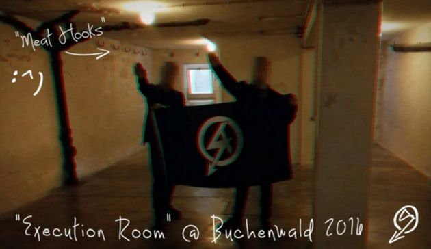 National Action members perform Nazi salutes at Buchenwald concentrationcamp in