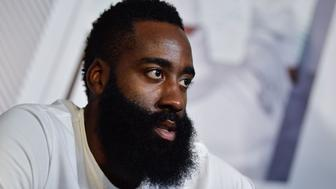 GUANGZHOU, CHINA - AUGUST 12: The NBA player James Harden of the Houston Rockets attends a commercial event at Haixinsha Asian Games Theme Park on August 12, 2017 in Guangzhou, China. (Photo by Stringer/Anadolu Agency/Getty Images)
