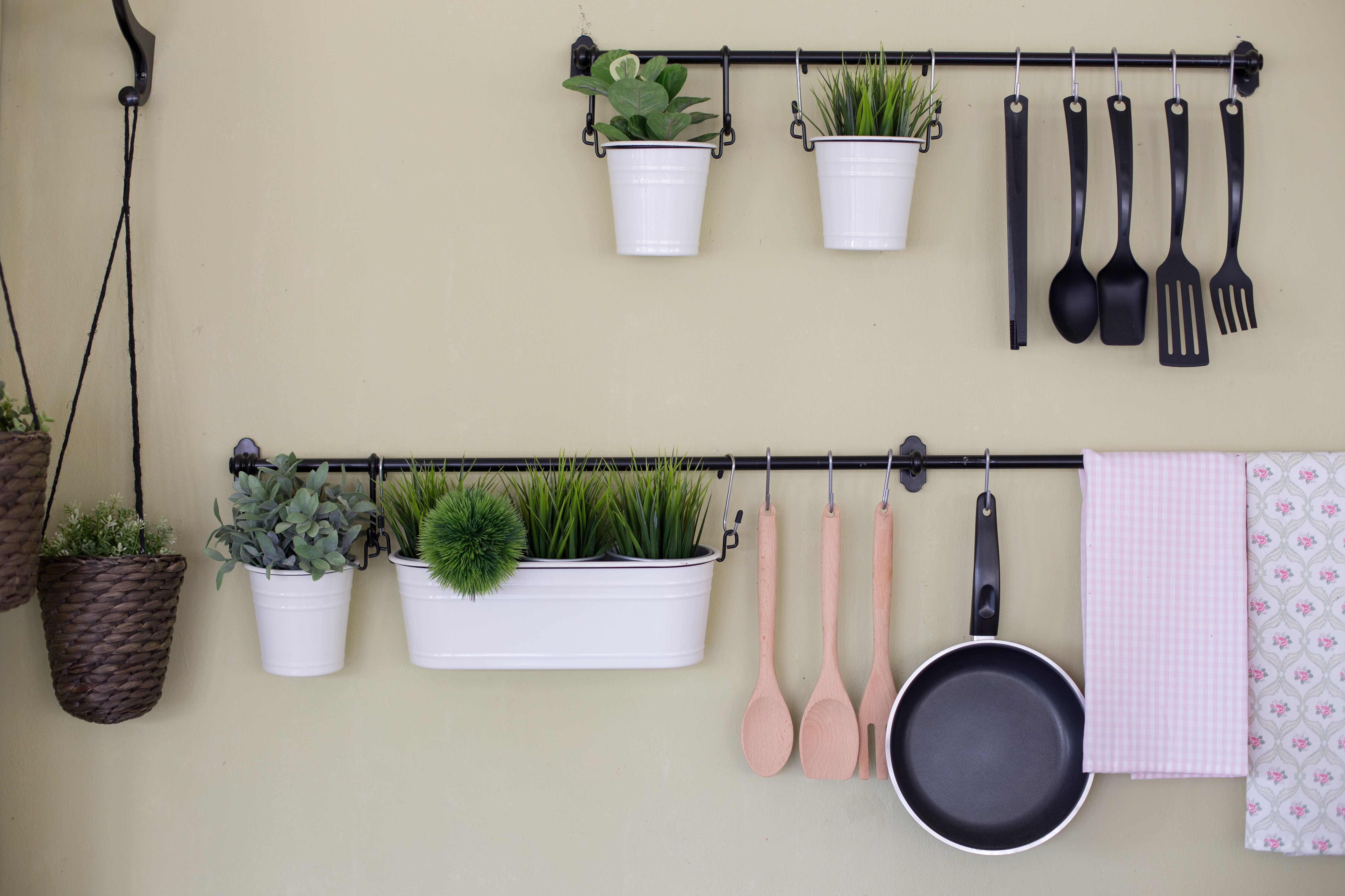 Kitchenware and tree  hanging on the wall.