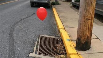 Police in Pennsylvania have asked people to stop attaching red balloons to storm drains saying the sight left them completely terrified