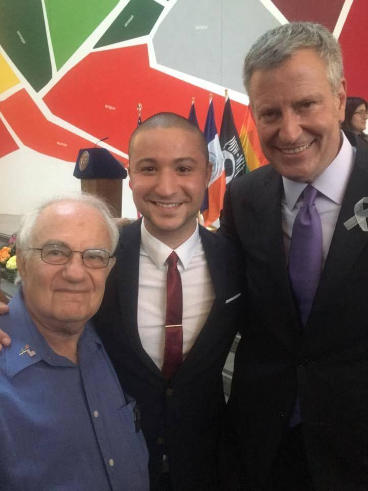 Pictured (l to r) are Lewis Goldstein, Elvin Garcia, and NYC Mayor Bill de Blasio
