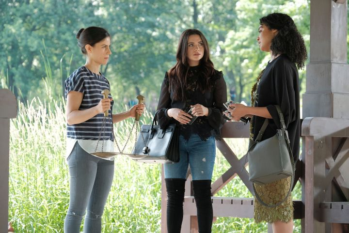 "Jane (middle) and Kat (right) interview Mia Lawrence during ""The Bold Type's"" season finale."