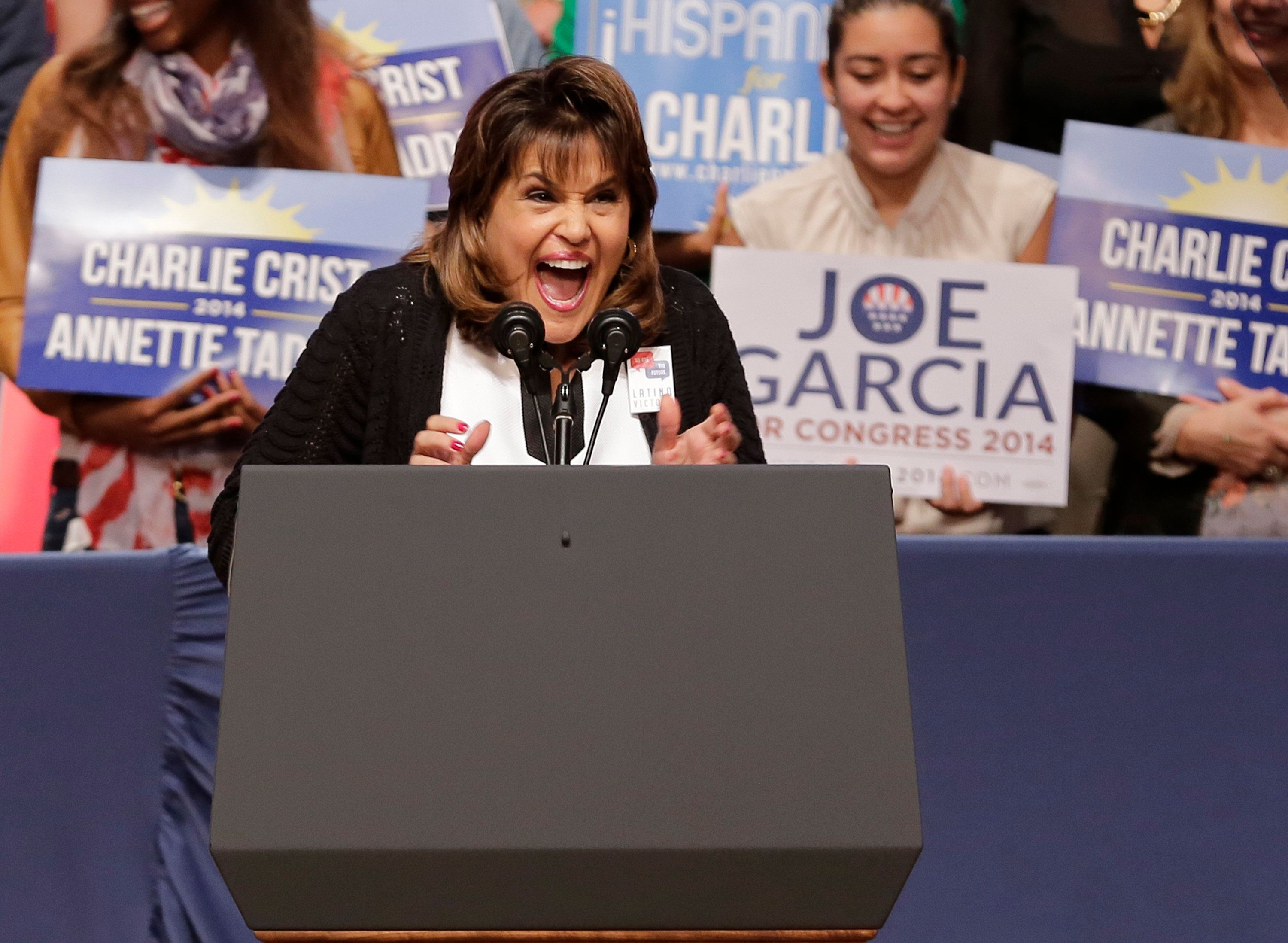 MIAMI, FL - NOVEMBER 02: Annette Taddeo speaks at the Latino Victory Project Rally at Florida International University on November 2, 2014 in Miami, Florida. (Photo by Alexander Tamargo/Getty Images for Latino Victory Project)